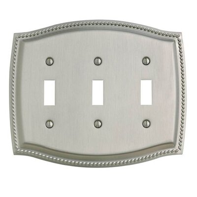 Triple Toggle Rope Light Switch Plate Color: Satin Nickel