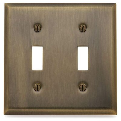 Classic Square Bevel Design Double Toggle Switch Plate Finish: Antique Brass