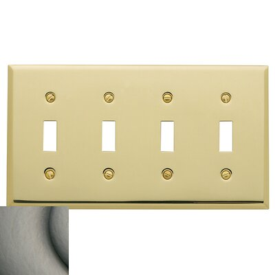 Classic Square Bevel Design Quad Toggle Switch Plate Color: Antique Nickel