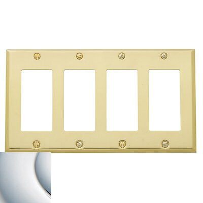 Classic Square Bevel Design Quad GFCI Switch Plate Color: Bright Chrome