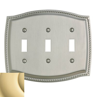 Triple Toggle Rope Light Switch Plate Color: Bright Brass