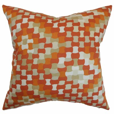 Clarence Geometric Cotton Throw Pillow Cover Size: 18 x 18, Color: Tangerine