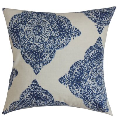 Daganya Damask Cotton Throw Pillow Cover Size: 20 x 20, Color: Indigo