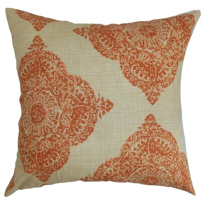 Daganya Damask Cotton Throw Pillow Cover Size: 18 x 18, Color: Terracotta