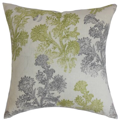 Eara Floral Linen Throw Pillow Cover Size: 18 x 18, Color: Moss