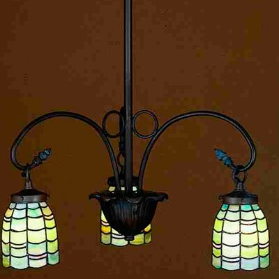 Nautical Sea Scallop 3-Light Shaded Chandelier