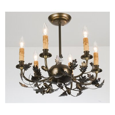 Oak Leaf and Acorn 6-Light Candle-Style Chandelier