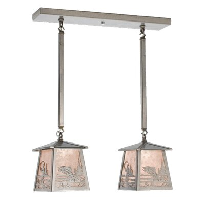 Fly Fishing Creek Bass 2-Light Kitchen Island Pendant