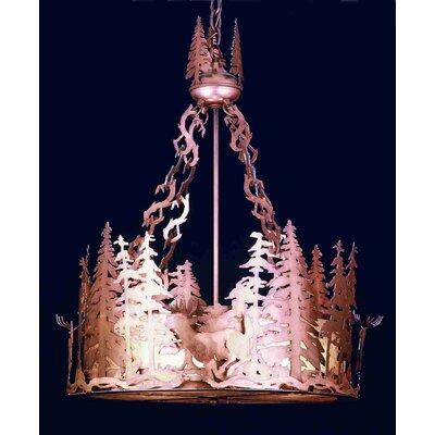 Deer at Dusk 4-Light Inverted Pendant Finish: Antique Copper, Shade Color: Silver