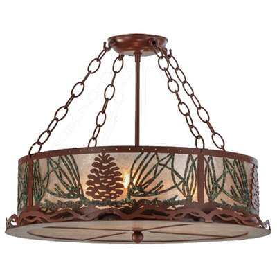 Mountain Pine 3-Light Semi Flush Mount