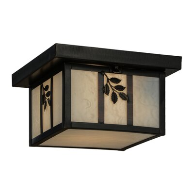 Hyde Park Sprig 1-Light Flush Mount Shade Color: White