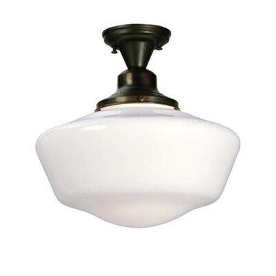 Revival Schoolhouse with Traditional Globe 1-Light Semi Flush Mount