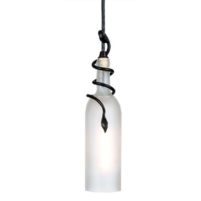 Tuscan Vineyard Frosted Wine Bottle 1-Light Mini Pendant Size: 15 - 83 H x 3 W x 3 D, Shade Color: Frosted White