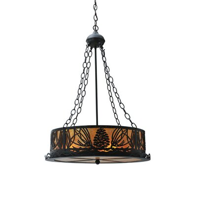 Mountain Pine 4-Light Inverted Pendant Finish: Black, Shade Color: Amber
