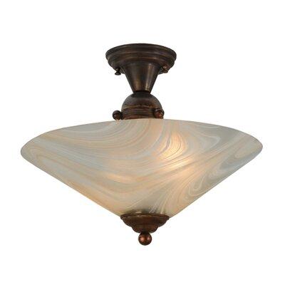 Deco Ball Blush Swirl 2-Light Semi-Flush Mount