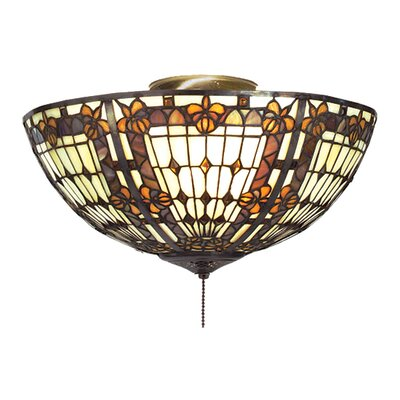 Fleur-de-lis 3-Light Flush Mount Shade Color: Beige