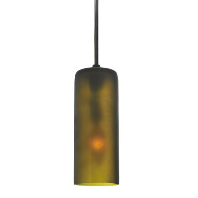 Venice Wine Bottle 1-Light Mini Pendant Shade Color: Frosted Green, Size: 75 H x 5 W x 5 D