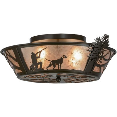 Quail Hunter with Dog 4-Light Flush Mount