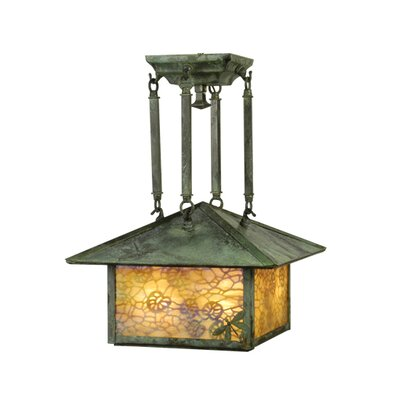 Lotus Leaf and Dragonfly 4-Light Semi-Flush Mount
