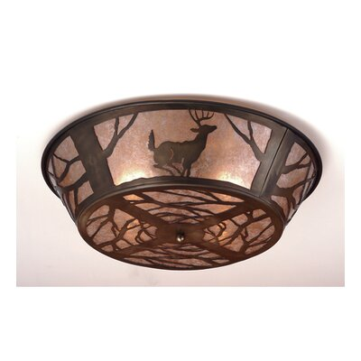 Deer on the Loose 4-Light Flush Mount