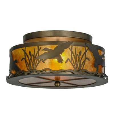 Ducks in Flight 2-Light Flush Mount