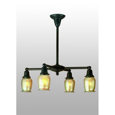 Revival Oyster Bay Favrile 4-Light Shaded Chandelier