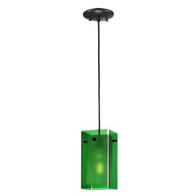 Metro Quadrato 1-Light Mini Pendant Shade Color: Green
