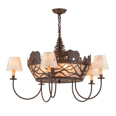 Bear on The Loose 8-Light Shaded Chandelier