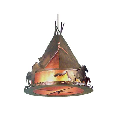 Teepee with Wild Horses 4-Light Pool Table Light