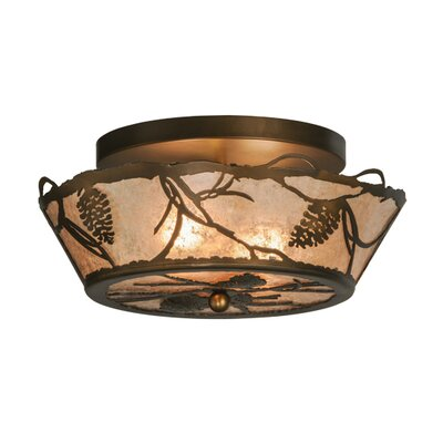 Whispering Pines 2-Light Flush Mount Size: 8 H x 16 W x 16 D