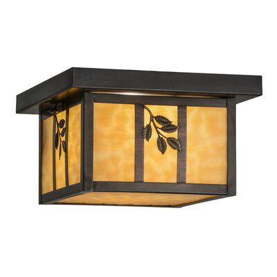 Hyde Park Sprig 1-Light Flush Mount Shade Color: Beige