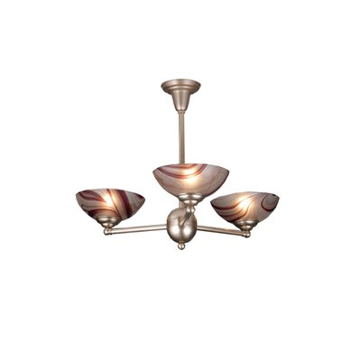 Deco Ball Chambord Swirl 3-Light Semi Flush Mount