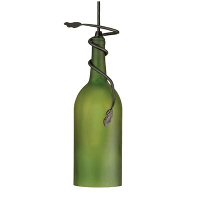 Tuscan Vineyard Frosted Wine Bottle 1-Light Mini Pendant Shade Color: Frosted Green, Size: 16 - 84 H x 4 W x 4 D