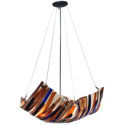 Oceano Fused Glass 4-Light Inverted Pendant