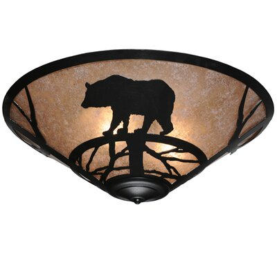 Bear on the Loose 3-Light Flush Mount