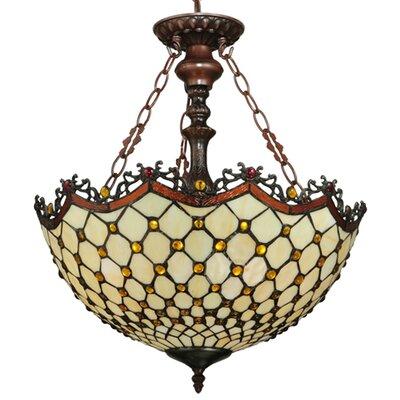 Diamond and Jewel 3-Light Inverted Pendant