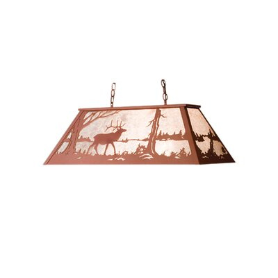 Elk at Lake 6-Light Billiard Light Size: 22 - 42 H x 48 W x 17 D