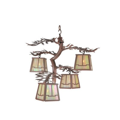 Pine Branch Valley View 4-Light Shaded Chandelier
