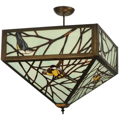 Backyard Friends 4-Light Semi-Flush Mount