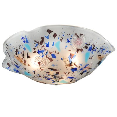 Metro Fusion Organic Slumped Glass 3-Light Flush Mount 120080