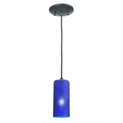Venice Wine Bottle 1-Light Mini Pendant Shade Color: Frosted Blue, Size: 75