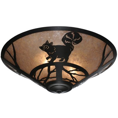 Racoon on the Loose 3-Light Flush Mount
