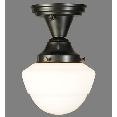 Revival Schoolhouse with Emma Globe 1-Light Semi Flush Mount