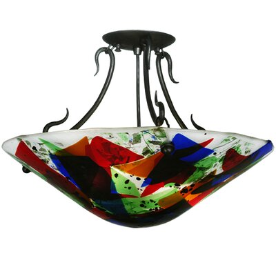 Metro Fusion Colorito Glass 2-Light Semi-Flush Mount