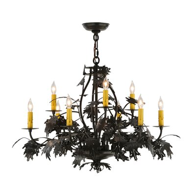 Leaf and  Acorn 9-Light Candle-Style Chandelier