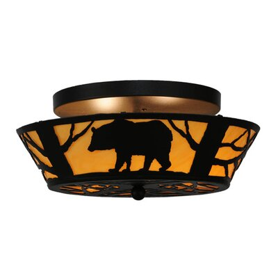Bear on the Loose 2-Light Semi-Flush Mount