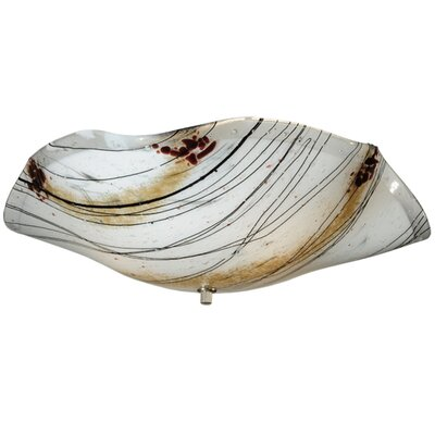 Organic Slumped Ramoscelli Fused Glass 3-Light Flush Mount