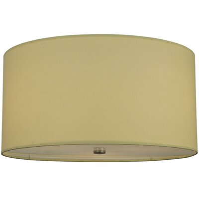 Cilindro Beige Textrene 3-Light Flush Mount