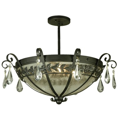 Florentine with Crystals 3-Light Semi-Flush Mount