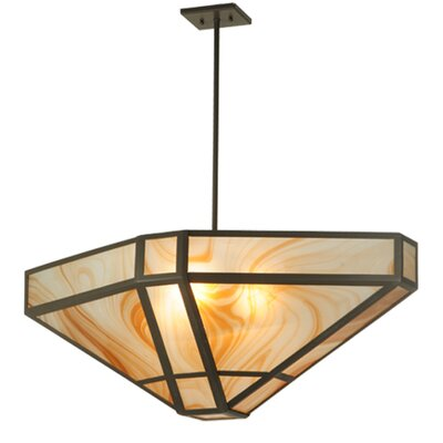 Geometric Cognac Swirl 4-Light Inverted Pendant